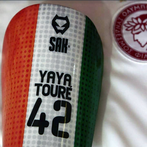 Former FC Barcelona and Manchester City Yaya Toure football shin guards.