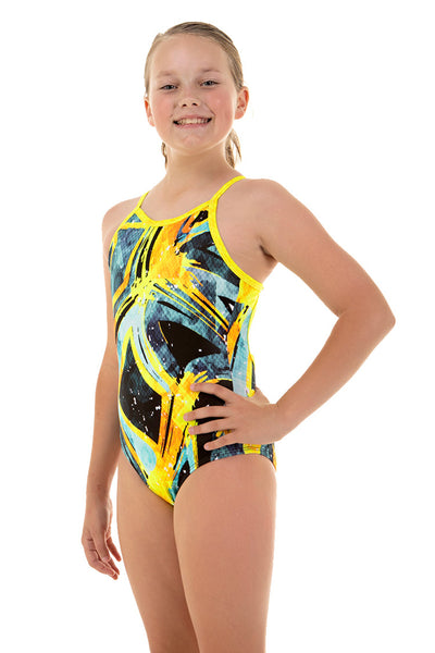 Nova Swimwear Girls Bumblebee Adjustable Sportique One Piece - FreeStyle Swimwear
