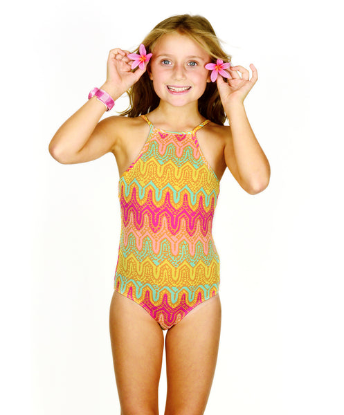 Baku Girls Sierra High Neck Maillot - FreeStyle Swimwear