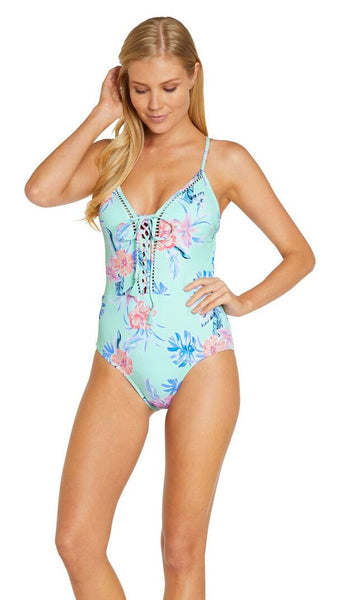 Baku South Pacific Plunge Lace Up One Piece - FreeStyle Swimwear