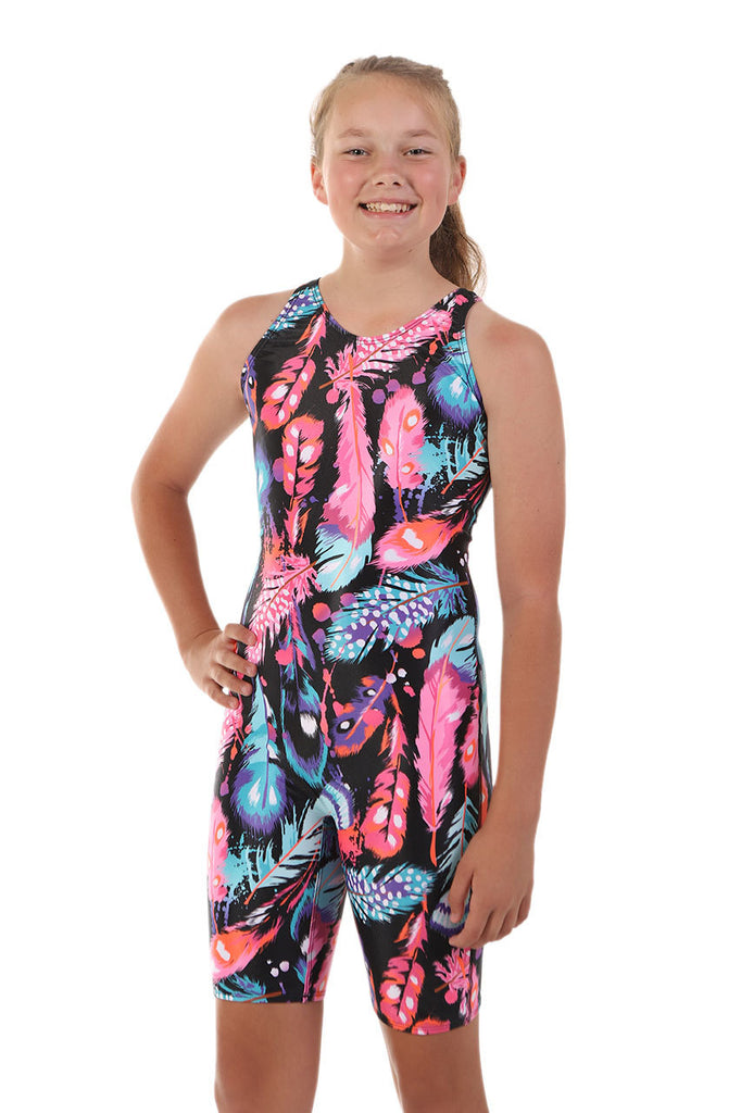Nova Swimwear Girls Peacock Knee Length One Piece - FreeStyle Swimwear