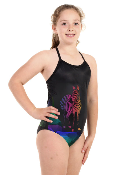 Nova Swimwear Girls Stripes Sportique One Piece - FreeStyle Swimwear