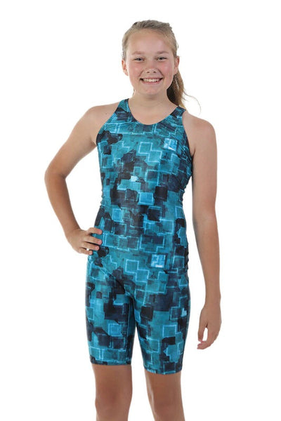 Nova Swimwear Girls Tetris Knee Length One Piece