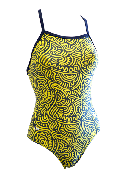 Fashion Fish Designs Girls Tribal Wave One Piece - FreeStyle Swimwear