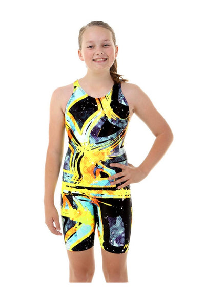 Nova Swimwear Girls Bumblebee Knee Length One Piece