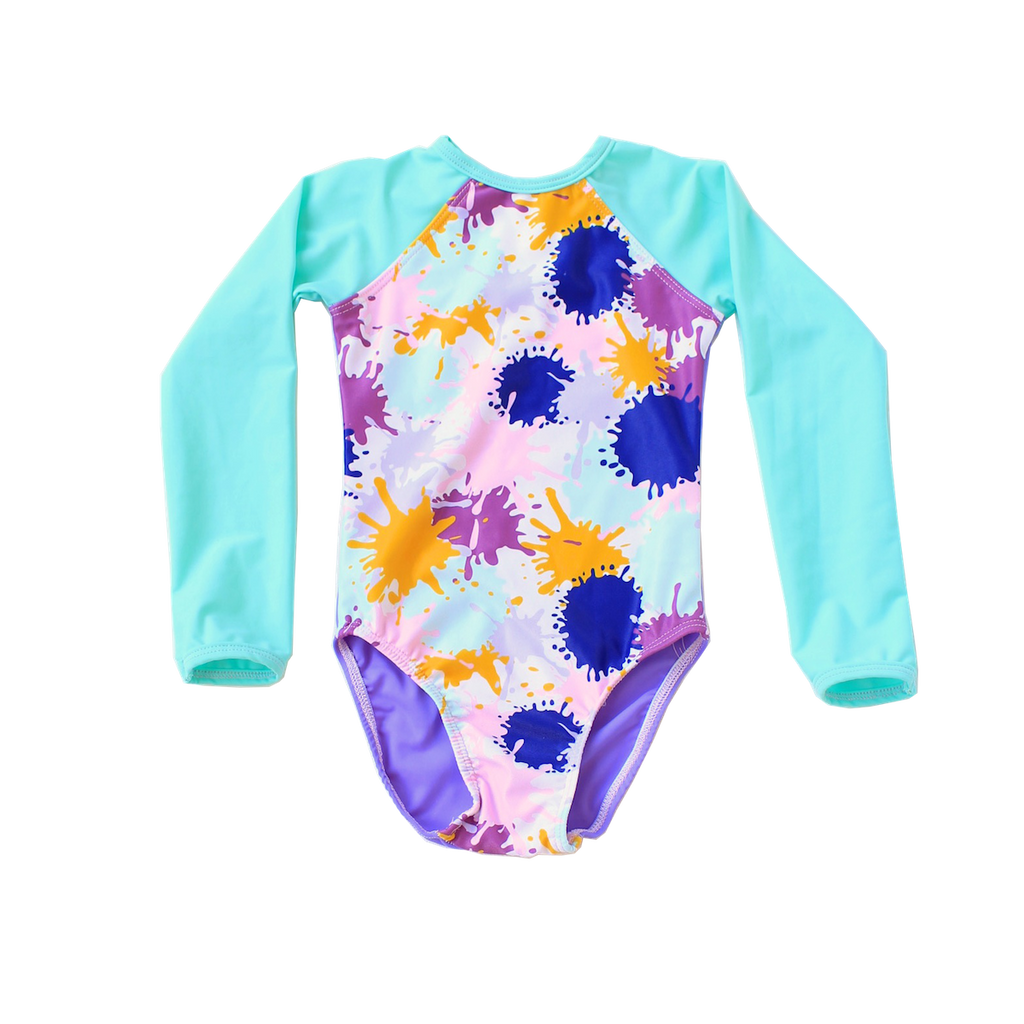 Young Squad Girls Splatter Long Sleeve Swimsuit - FreeStyle Swimwear