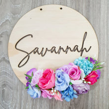 Personalised floral name plaque. (LASER CUT)