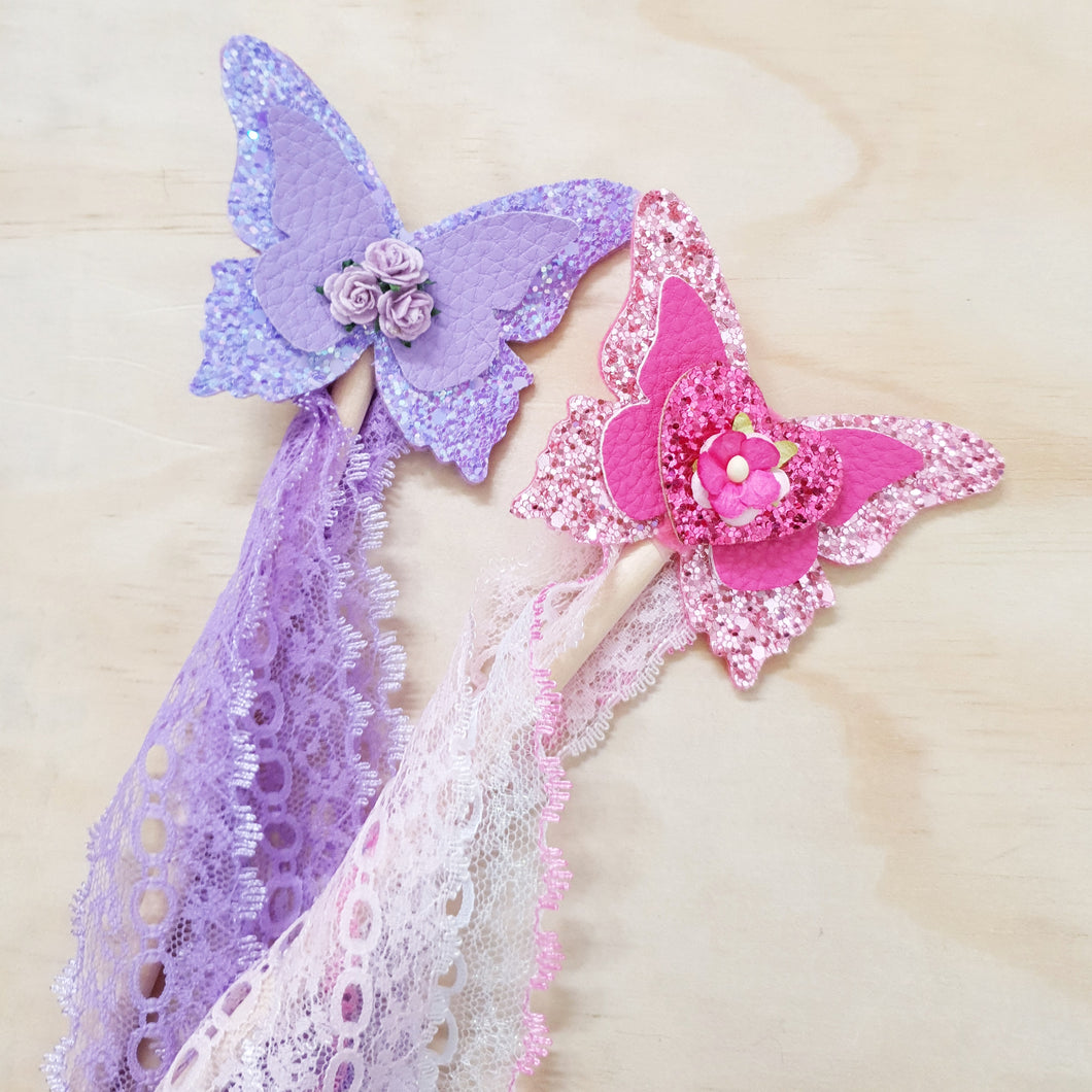 Butterfly wands. PURPLE & HOT PINK.