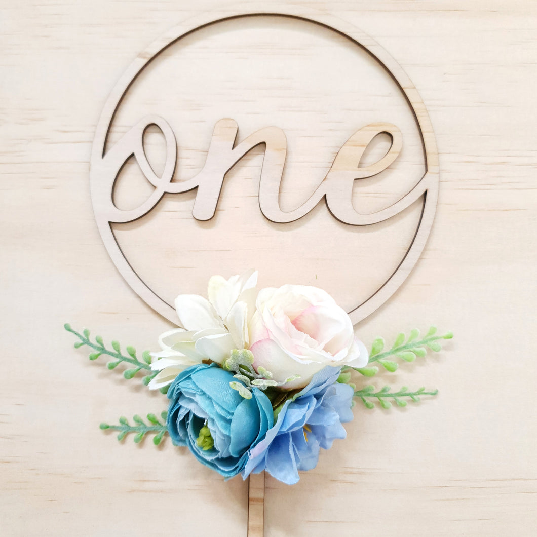 Blue cake topper. ONE
