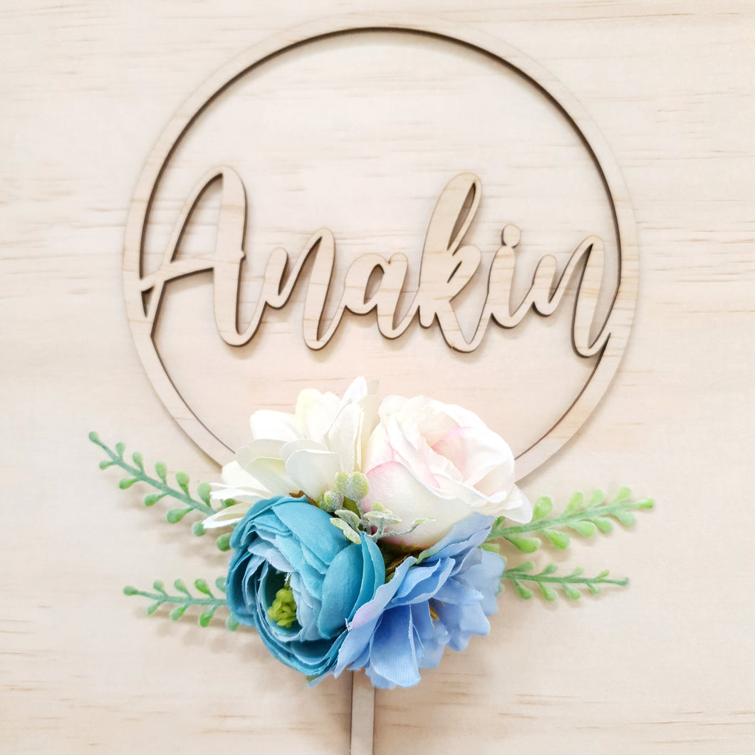 Blue cake topper. PERSONALISED.
