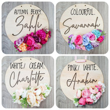 Personalised floral name plaque.