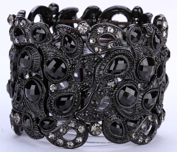 Floral stretch bracelet vintage style flower crystal women fashion jewelry gifts b10 wholesale dropshipping black gold grande