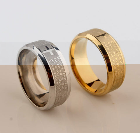 Stainless Steel Cross Rings Rings for Men Christian Rings Wedding Bands Promise Rings