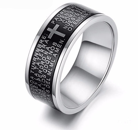 Christian Rings Stainless Steel Cross Rings Rings for Men Wedding Bands Promise Rings