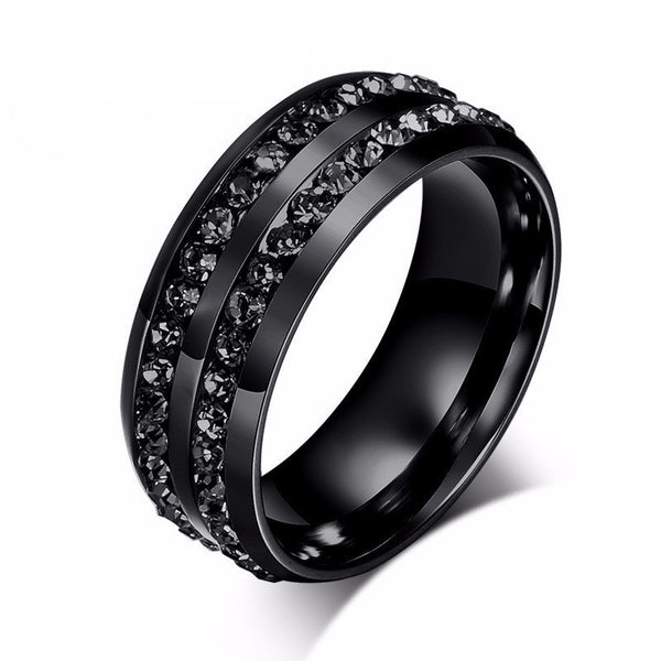 Modyle 2016 new fashion men rings black crystyal rings stainless steel men wedding rings grande
