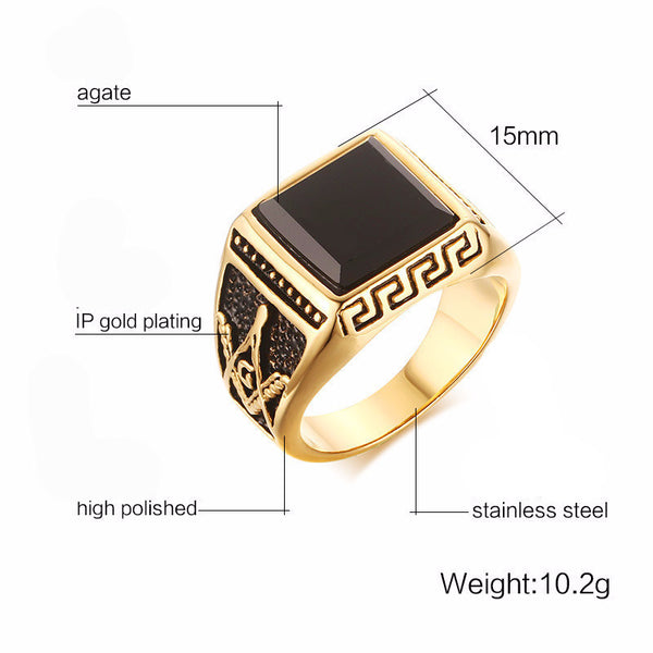 Modyle gold plated cool men masonic rings stainless steel wedding rings for men jewelry black 15mm f4e0e0f9 593e 4c16 9177 69514dd496d7 grande