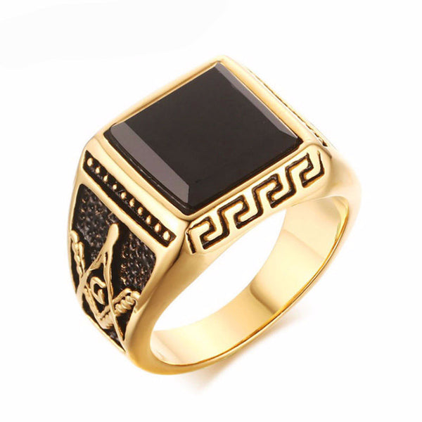 Modyle gold plated cool men masonic rings stainless steel wedding rings for men jewelry black 15mm grande