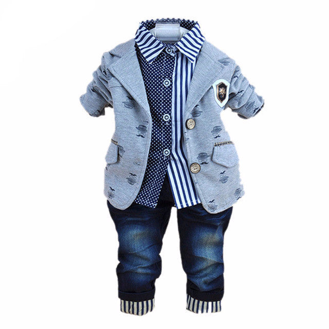 686f8158 3pcs Boy Clothes Baby Boy Dress Clothes Jacket Toddler Dress Clothing Boy  Dress Suits Boy Polo