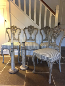 19th century Set of 4 dining chairs, later painted.