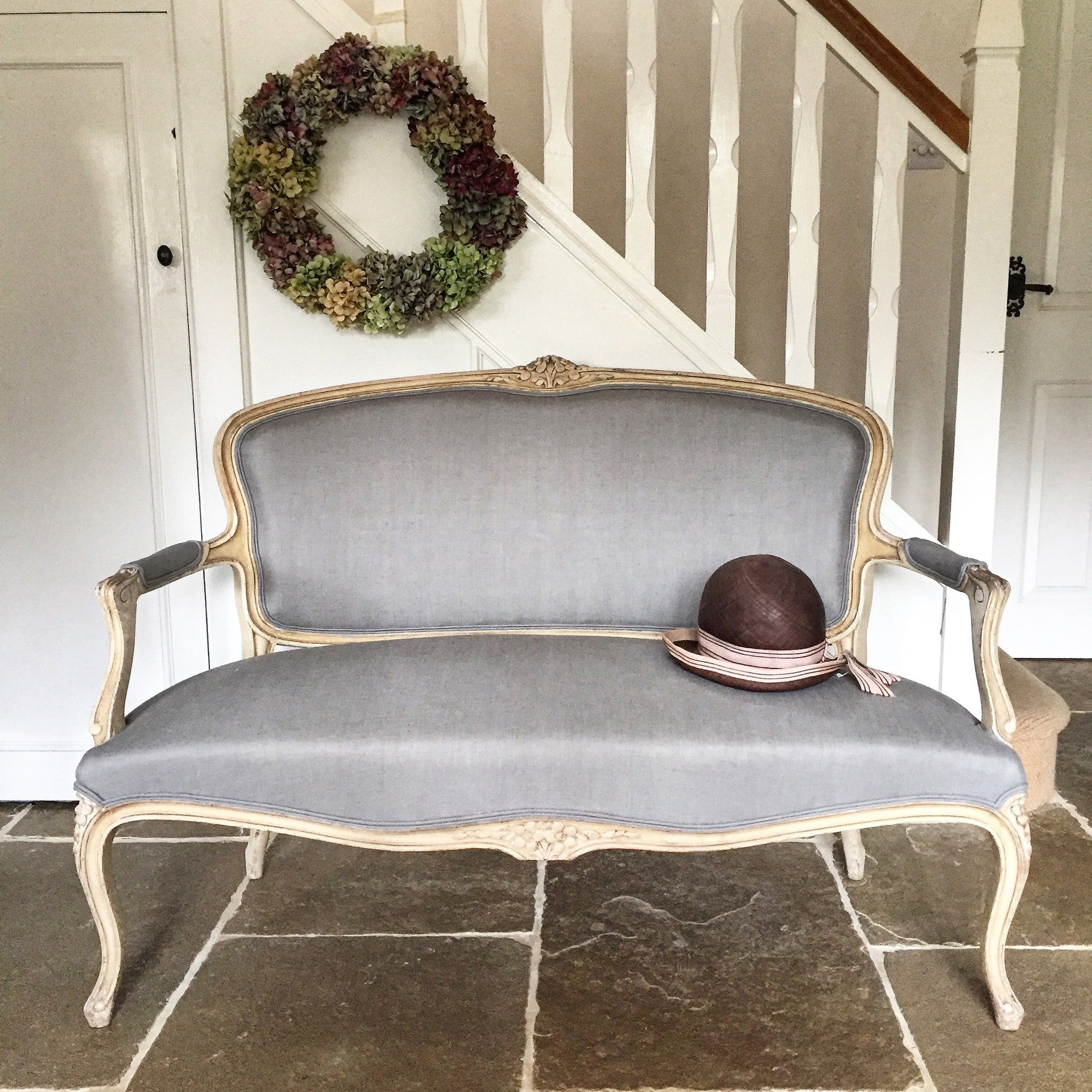 Late 19th century French Canapé Sofa in powder-blue linen.