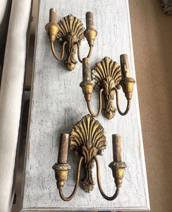 Late 19th century gilt wood wall sconces