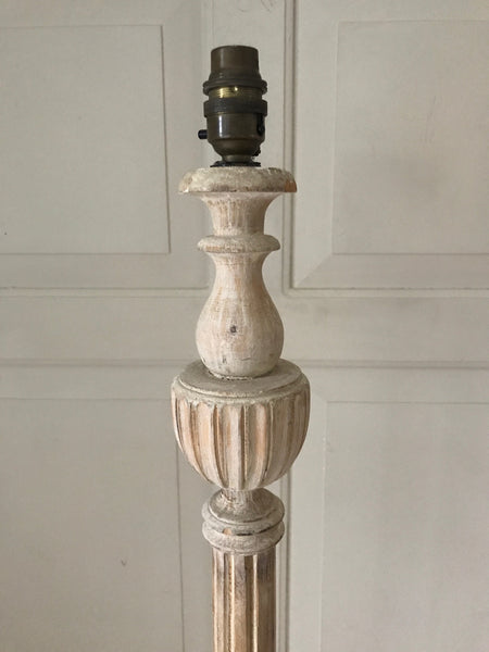 Early 20th century hand carved wooden standard floor lamp