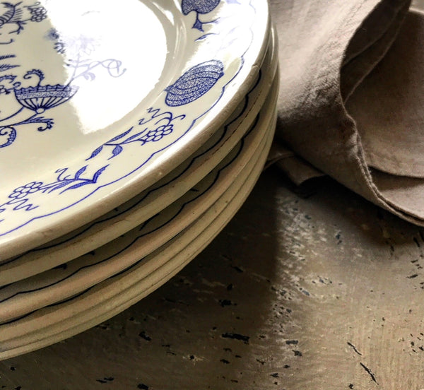 Set of 6 vintage 1940's french china blue and white plates.