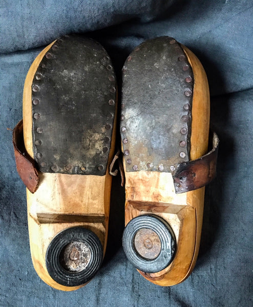 Early 20th century French wooden clogs