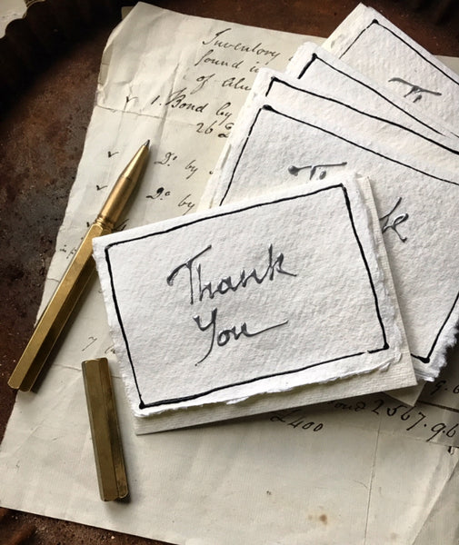 Hand-written THANK YOU cards and envelopes on handmade rag paper