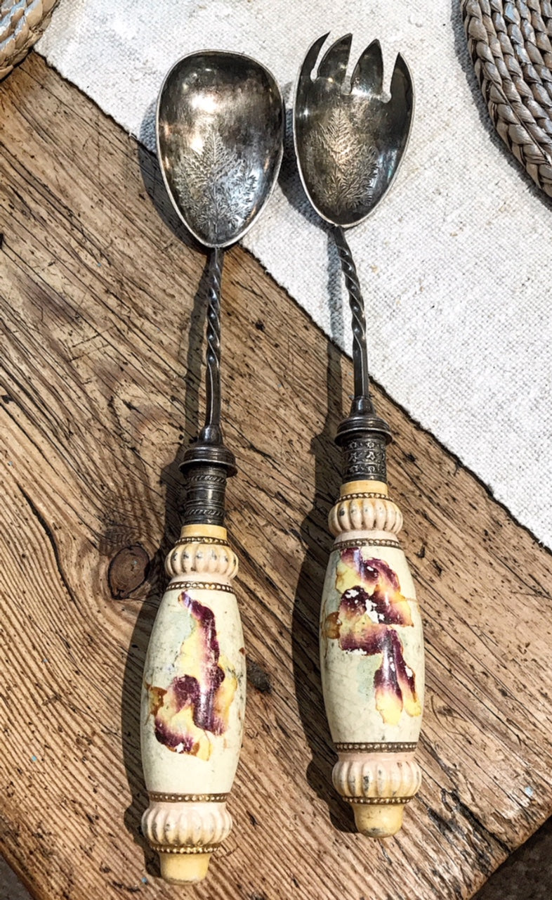 Early 20th century silver plated engraved serving spoons