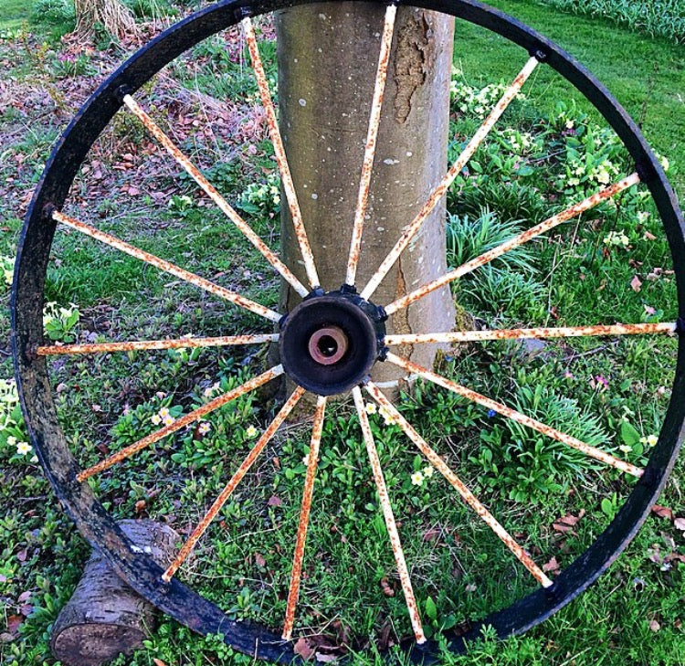 19th century cast iron wagon wheel