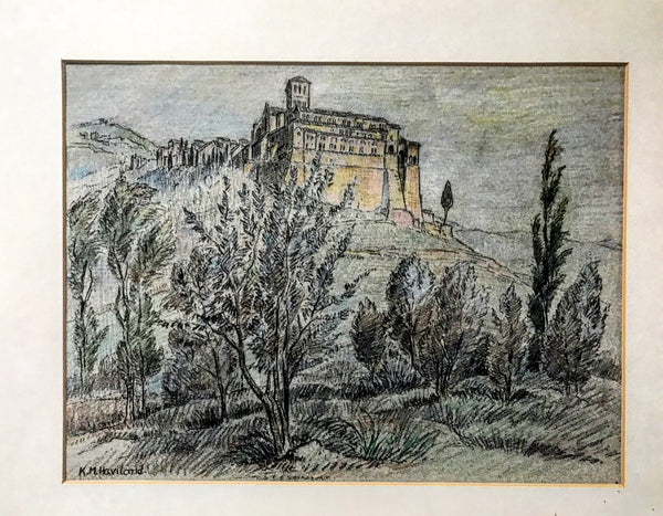 20th century pastel painting of San Francesco monastery, Assisi, Italy.