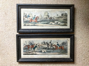 Pair of early 19th century Hare Coursing aquatint by Pollard.