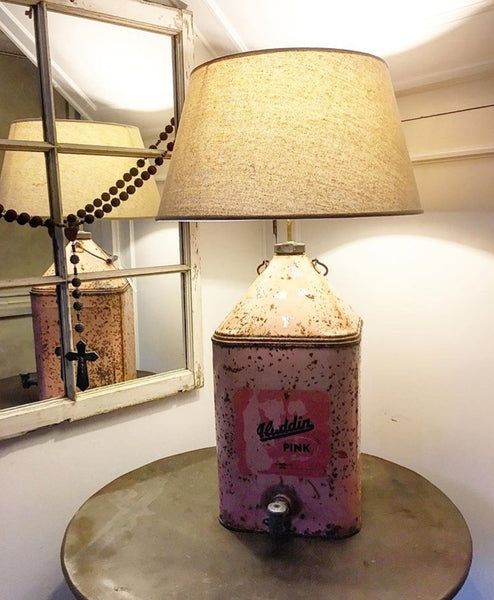 1950's Oil Can Lamp with original pink paint and tap feature.