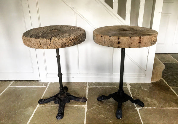 19th Century European Elm wood wagon wheel on Victorian cast iron table base