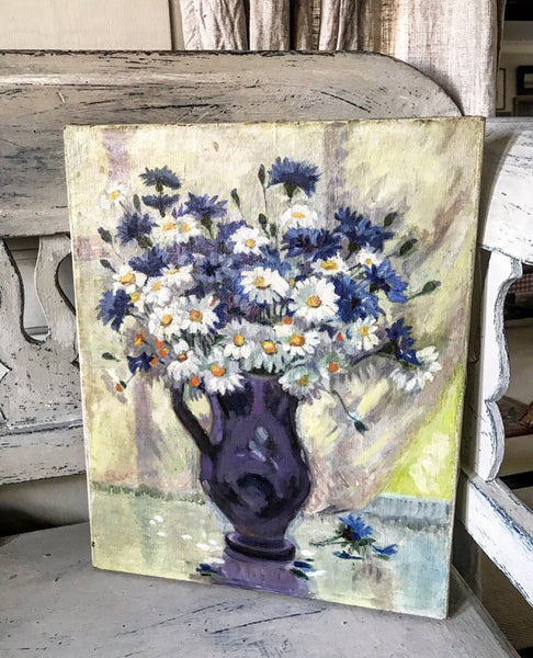 Mid century French still life oil painting on canvas of Cornflowers and Daisies in a vase.