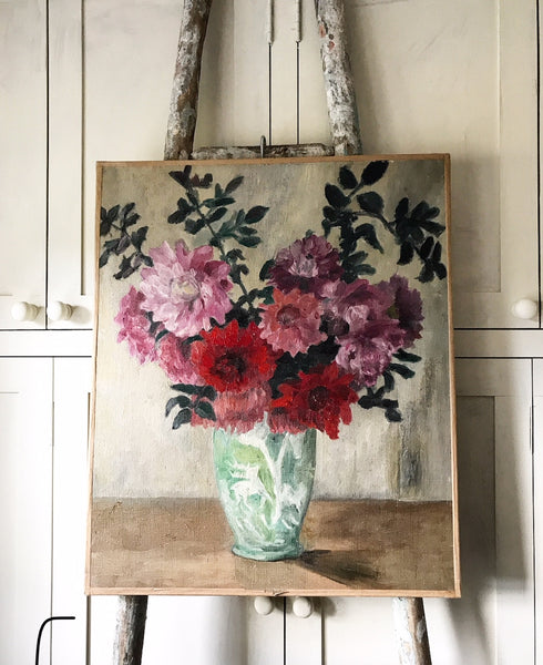 Mid century French oil painting of Summer Flowers in a green vase on canvas.
