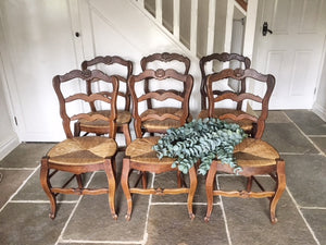 1930's French Rush Seat Provencal Dining Chairs