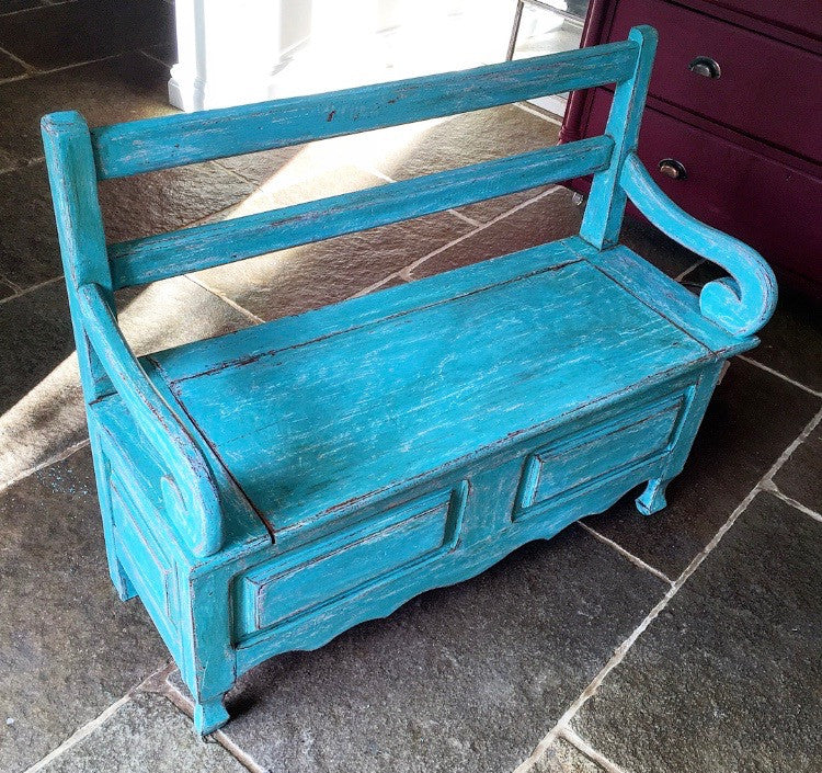 Vintage French Oak Children's Settle Bench