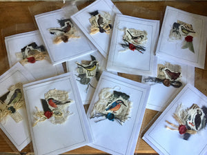 Handmade set of unique cards with BRITISH BIRDS and matching envelopes.