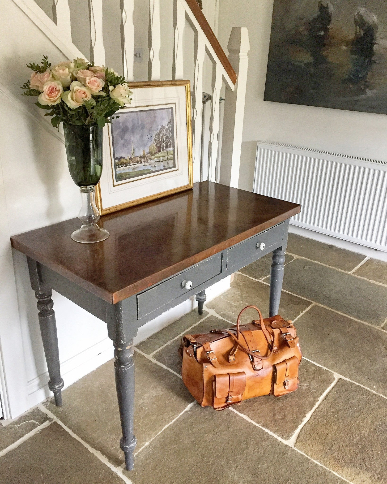 Victorian Copper Top Hall Table