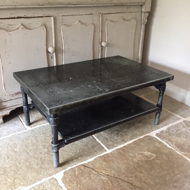 Handmade bespoke Zinc top industrial coffee table on iron tube base.