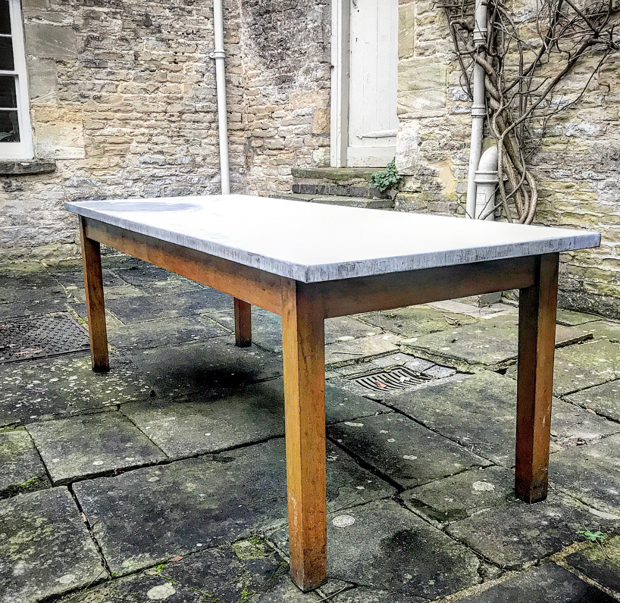 20th century Chemistry Table with Zinc Top