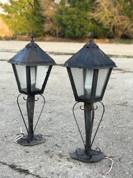 1960's Wrought Iron Gate Lanterns