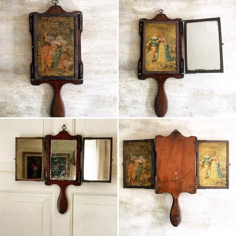 19th century triptyque mirror in Mahogany frame.