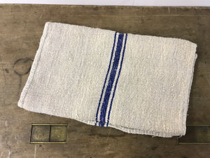 Antique Linen Grain Sack with Royal Blue Stripe