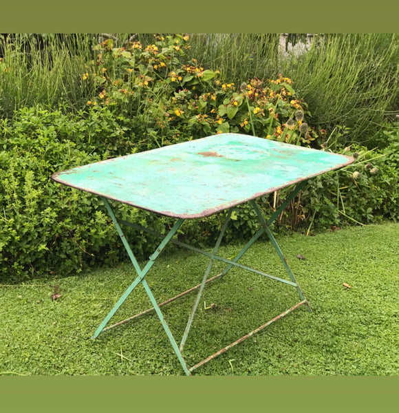 Early 20th century French Metal Bistro Table in original paint.
