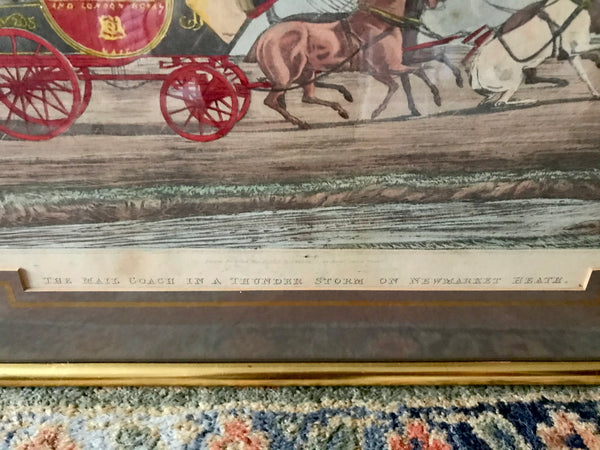 Mid 19th century Pair of Hand-coloured Mail Coach Prints