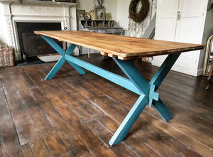 Late 19th century Hungarian X-frame plank top table