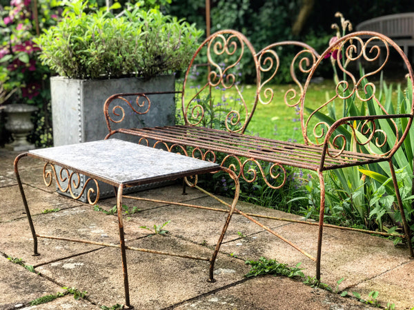 Early 20th century French wrought iron garden set.